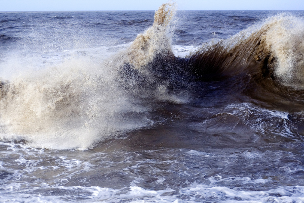 Big Wave 2: A large, wave whipped up by gale force winds and a high tide at Anchorsholme, near Blackpool, UK.