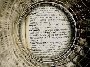 Magnified: The word magnify in a dictionary viewed through a magnifying glass cover