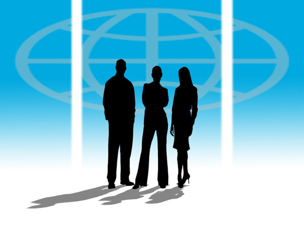 Business World 2: Three business people silhouettes against a world atlas symbol
