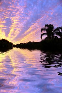 Tropical Waters 3: Spectacular sunset over tropical waters. This image has had the colour edited. Photo and graphic.