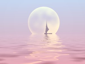 Sailor Moon 1: Silhouette of a sailboat on water with a large moon in the background.