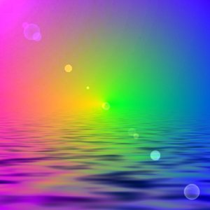 Rainbow, Water, Lensflare: Abstract rainbow coloured sky and water with lensflare. Although the filter pixelates the image, it is still useful for a background or blend.