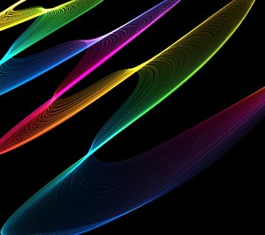 Rainbow Waves 1: Lots of rainbow coloured lines make a colourful background, texture or fill.