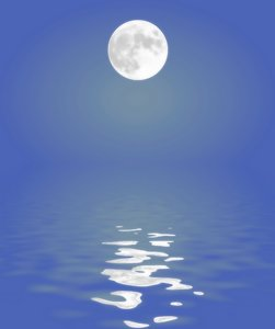 Moon Reflected in Water 2: A full moon reflected in the water.