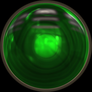 Light 2: A green high resolution metal framed round light that could be a traffic light.