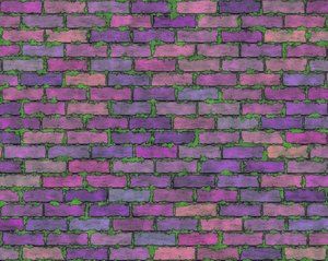 Coloured Brick Wall 4: A brick wall in a riot of colours, with grungy mortar. High resolution image.