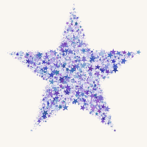 Star of Stars 2: A star shape made of tiny stars in different shades of blue and purple.