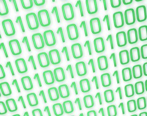 Binary Background 8: A binary background in green and white.