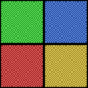 Pop Art Maze Paper: Warhol-style squares in four colours, with a black maze pattern and outline. High resolution. You may prefer this:  http://www.rgbstock.com/photo/n3cU7wY/Crumpled+Coloured+Paper+Blue  or this:  http://www.rgbstock.com/photo/mh6rAci/Paper+1