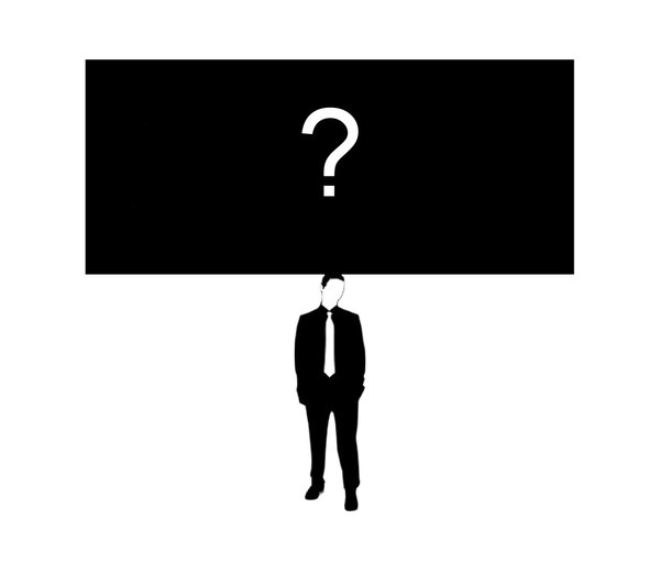 Something on Your Mind 3: Businessman (figure from a free for commercial use vector) with questions on his mind.