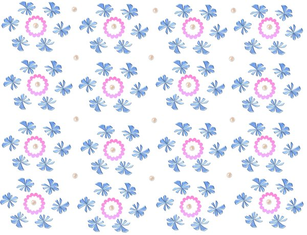 Spring Flowers Background 5: Spring flowers in an old fashioned pattern on a plain background.