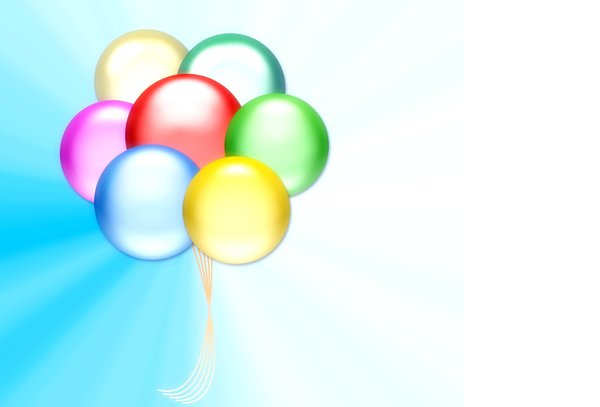Balloons 4: Graphic of balloons on a background with copyspace. Primary colours.