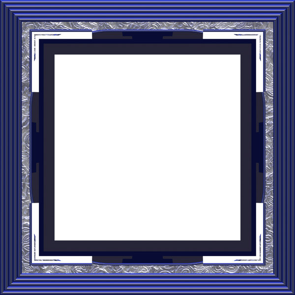 Ornate Square Frame 1: An elegant, ornate frame with inlaid panels, in shades of blue and silver.