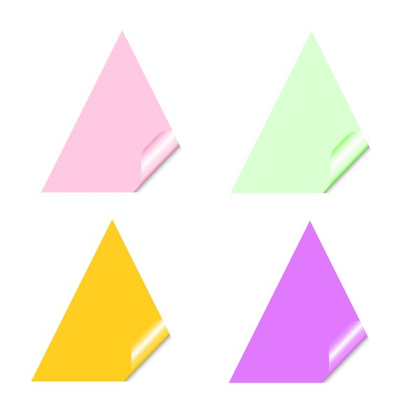 Stickers 6 Triangles: Triangular stickers with a lifted corner, in primary and pastel colours. Copyspace for your pricing, message or announcement. May be used as web buttons.