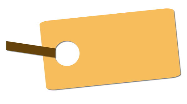 Tag 3: A blank beige or yellow price tag. Could be a banner or invitation.