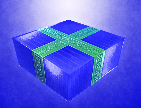Gift 3: A wrapped gift in blue paper with a green ribbon against a blue gradient background.