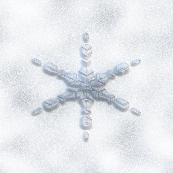 Isolated Snowflake 1: An isolated snowflake on a smudgy, snowy background.