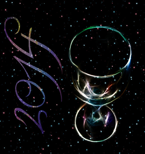 New Year 2014: A fractal wineglass against a starry sky with 2014 to celebrate the new year.