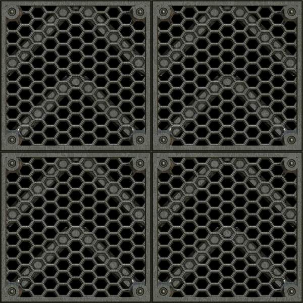 Industrial Grating 2: Metallic industrial grating for floors, walls, prisons, etc. Seamless tile. You may prefer: http://www.rgbstock.com/photo/n2fSKRm/Metal+Plate  or:  http://www.rgbstock.com/photo/o8OAqSM/Metallic+Grille+3 Must contact me if using outside licence. (e.g. in