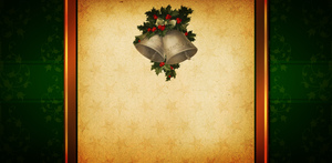 Christmas card background: Vintage-feel Christmas card background in green with a decoration of holly and bells