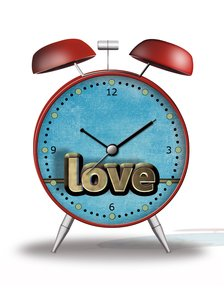 Time for love: Alarm clock with 3D love typography
