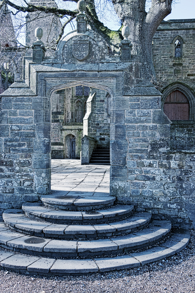 Stone steps and arch