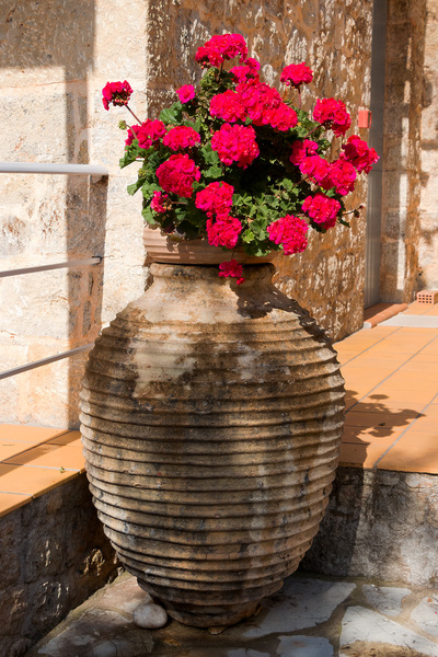 Flower urn: A large urn of flowers in Greece.
