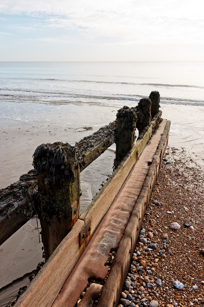 Beach groyne: A wooden groyne on the coast of Sussex, England, in January.