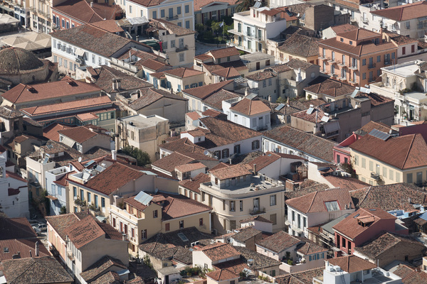 Houses: Houses in the port area of Nafplio, a city and former capital of Greece.