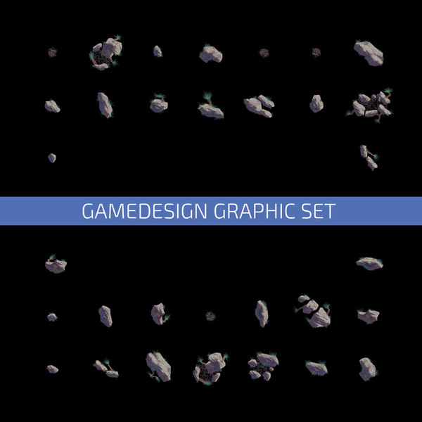 Game Design Plants Stones Set: Illustration. A Set of game design elements. 
