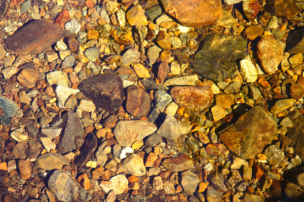 Rocks under water: Texture formed by rocks under water in a sunlit stream