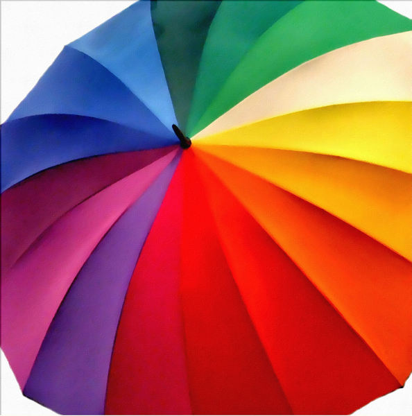 painted color umbrella1: painting of rainbow coloured umbrella