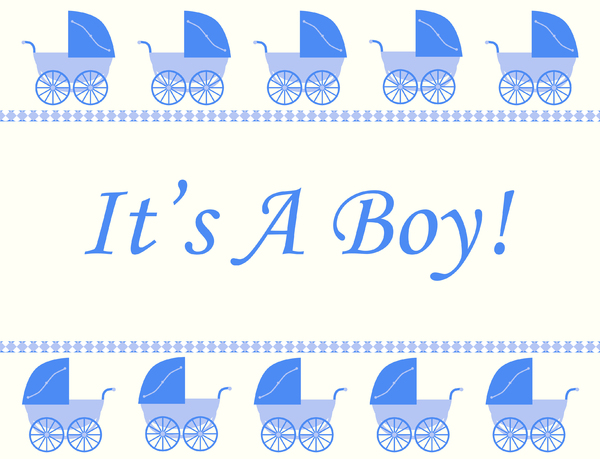 It's A Boy!: A border with blue retro prams on a white background.  Lots of copy space.