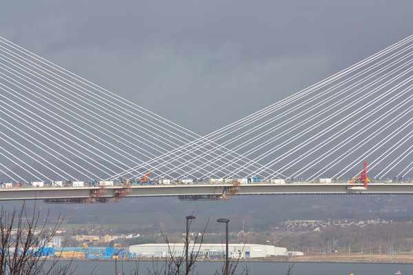 Cable stayed bridge cables: View of the Queensferry Crossing cable stayed suspension bridge over the Forth Estuary near Edinburgh in Scotland