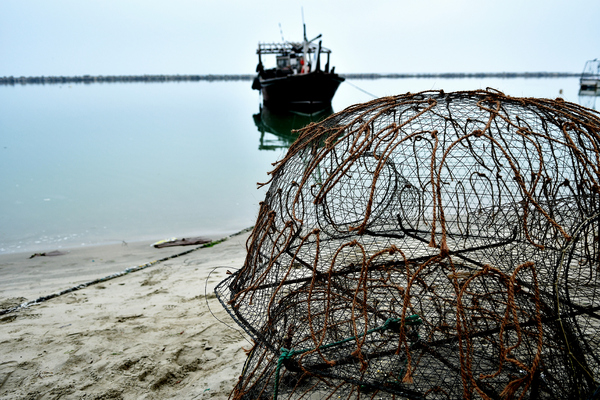 Fishing nets and fishing boat