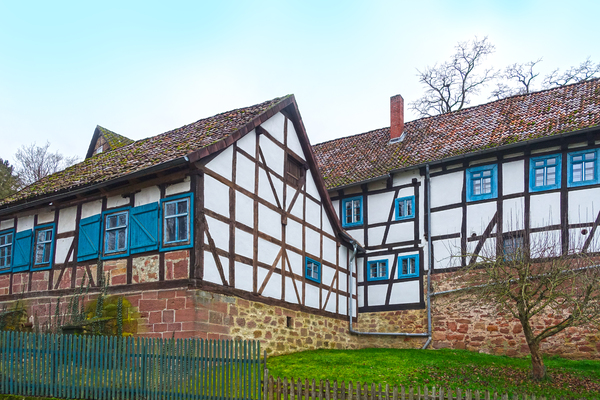 half-timbered with blue window