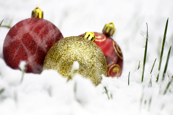 Baubles in snow