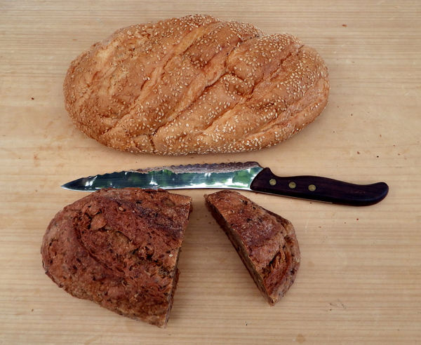 on the bread board5: wholemeal brown bread & white sesame loaves variety