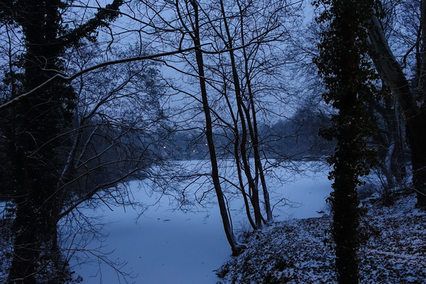 snowy frozen lake