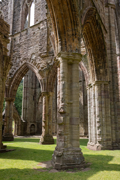 Abbey ruins: Ruins of Tintern Abbey, Monmouthshire, Wales. Photography of these ruins is freely permitted.