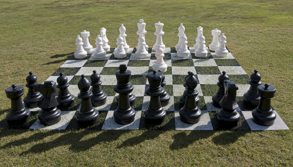 Giant chess set: A giant chess set on a garden lawn in England.