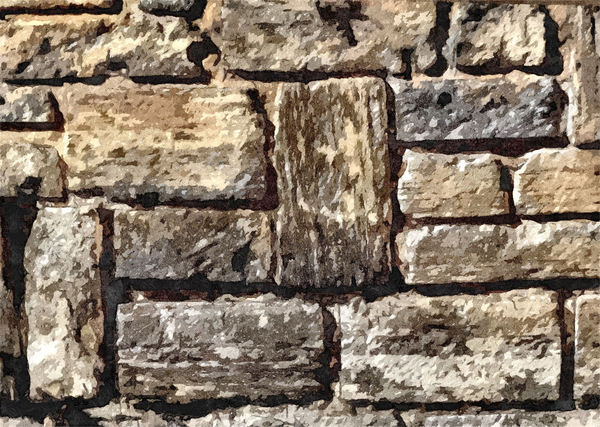 sandstone block wall: artistic rendering – paint filtered sandstone block retaining wall