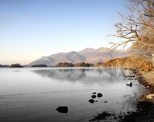 across derwent water: taken across dewent water with the ferry in the far distance