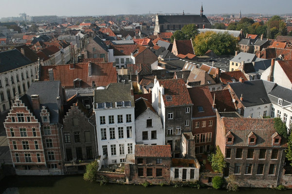 Old Ghent: Rooftops of old buildings in Ghent, Belgium.