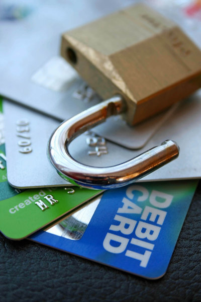 Credit Card Security: Credit cards with a security padlock