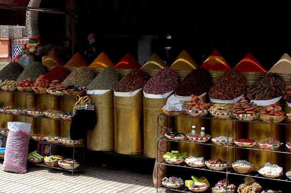 Spices: Some spices in a shop in Morocco.