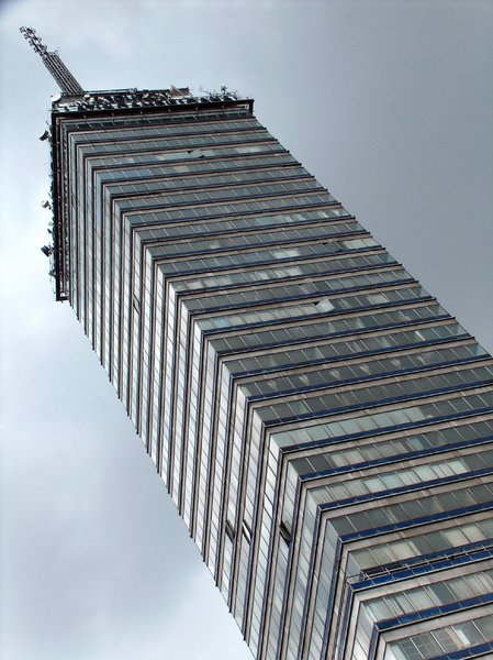 Mexico City scenes 15: Torre Latinoamericana. Located at Eje Central Lazaro Cardenas and Madero st. intersection, Mexico City. Built in 1956, was the tallest building in Mexico until 1984, when the Torre PEMEX was built. It's 182 m high (597 ft) and has a very effective pilot s