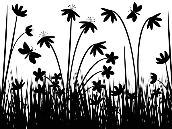 Butterfly Meadow: Wild flowers, grass and butterflies graphic.