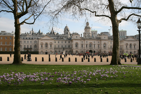 View from the Park: The tourist attraction of Horse Guards Parade, as seen from St James' Park, London, England, in very early spring.