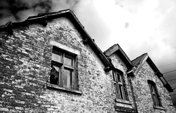 Haunted House 6: High contrast b&w image of a derelict and rather spooky farmhouse.